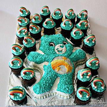 кексы и торт заботливые мишки