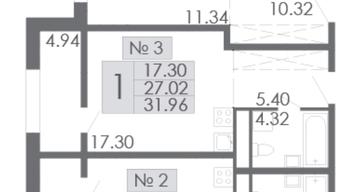Продаю 1-к. квартиру 31,96м2 (с лоджией)
